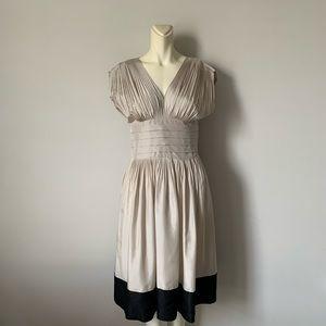BCBGMaxAzria Pleated Color block Cream Silk dress